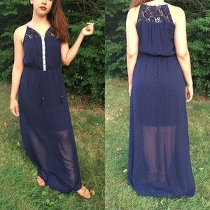 Flowy navy blue maxi dress